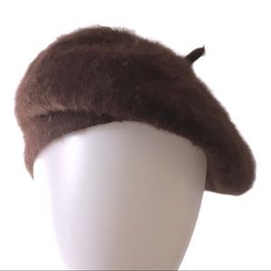 Vintage Angora fur hat two way brown beret/cap